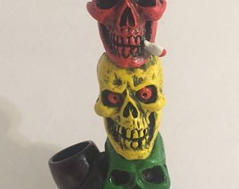 Tobacco Hand Made Pipe, Rasta Three Skull Totem Design