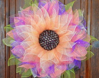 Deco Mesh Flower Door Wreath, Wall & House Decor