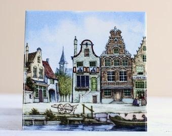 Dutch Tile Amsterdam Houses Canals Holland Netherlands J.C.V. Hunniks