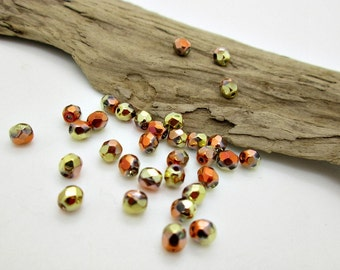 Metallic Faceted Round Bead, Czech Glass Apollo Gold Bead, 4mm Faceted Bead (25)