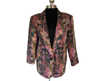 Vintage 1980s Donovan-Galvani Tapestry Print Blazer / Jacket (Size 14)