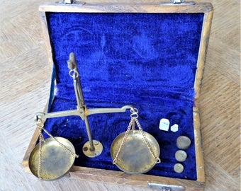 Antique French Brass Jeweler's Scales.  Justice/Apothecary Scales Balance