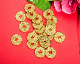 """20 Retro Chinese Coins - Aged Chinese Plastics Round Yellow Money – 0.86""""/1.3""""(22mm/34mm) – v77"""