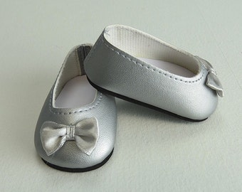 Ready to Ship! SILVER Bow Ballet Flats, 18 inch doll accessories