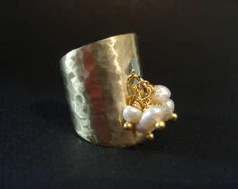 Multistone Real Pearls Hammered Bronze Ring Adjustable Cuff Modern Ring Bronze & White Pearls Band Ring
