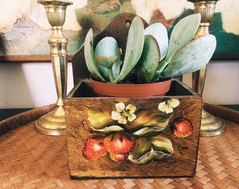 vintage recipe box/succulent planter/entryway organizer/hanging recipe box/hanging planter/planter/succulents/air plants/wall decor