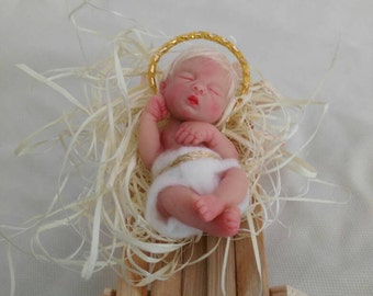 ooak polymer clay miniature, baby Jesus doll, hand made sculpt christmas,collectible READY TO SHIP