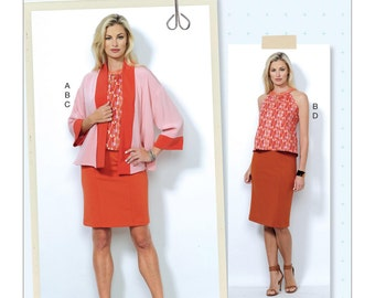 Butterick Pattern B6464 Misses' Banded Jacket, Notch-Neck Top and Pencil Skirts