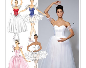McCall's Pattern M7615 Misses' Ballet Costumes with Fitted, Boned Bodice and Skirt and Sleeve Variations