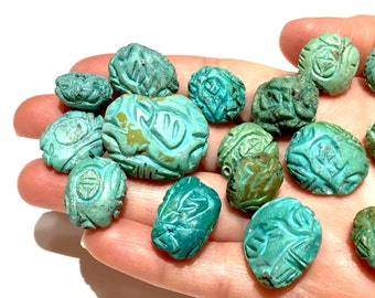 Antique Chinese TURQUOISE  Beads Hand Carved for necklace bracelet collection
