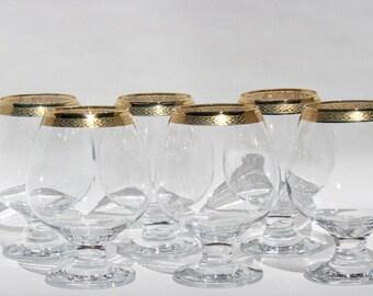 Gold Rimmed Wine Glasses set of 6 , Short Stem Glasses , Gold Trim Wine Glasses , Gold Trim Water Glasses , Special Occasion Wine Glasses