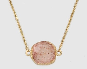 Gold Plated Round Natural Rose Pink Druzy Necklace