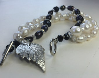 Pearl and Crystal Bracelet - Triple Elegance 1950s Pearl with a Silver Highlight
