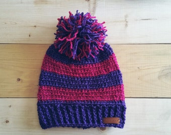 Pink and Purple Glittler Crochet Beanie with Pom Pom