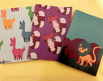 Three pack animal Notepads - Stationery