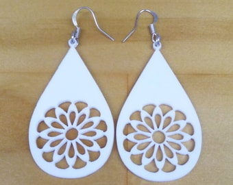 Laser cut earrings, white, original design