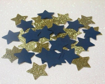 210 Navy and Gold Star Confetti Twinkle Twinkle Little Star Confetti Nautical Confetti Boy Baby Shower Confetti Star Party Star Decorations