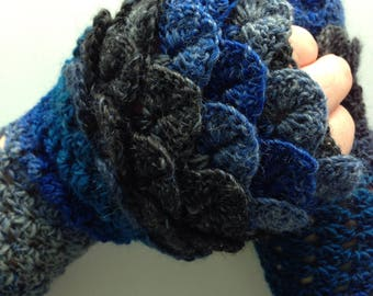 Dragon scale fingerless gloves, ladies wool gloves, handmade gloves, gifts for her, unique gloves