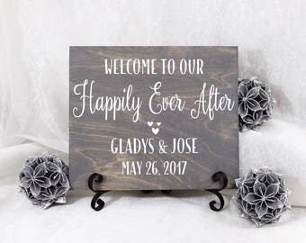 Personalized Welcome To Our Happily Ever After Wedding Sign, Wedding Ceremony Sign, Personalized Wedding Sign, Happily Ever After Sign