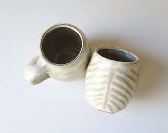 Palm frond pottery mug, white on white textured ceramic tropical coffee cup, wheel thrown earthenware