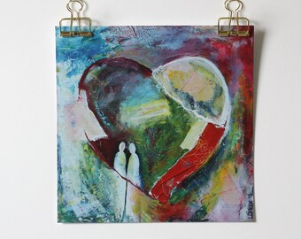 "Mixed Media 8,3 x 8,3 Art Print of original canvas ""Heart"""