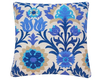 Blue Floral & Chevron Reversible Outdoor Cushion Cover, Square and Lumbar, Patio Pillow Cover, Flowers ZigZags Cinco de Mayo Outdoor Azure