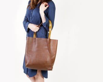 """Brown Leather Tote """"Mary Ann Sepia"""", Large Shopper Bag, Handmade Market Tote, Brown Leather Shopping Bag"""