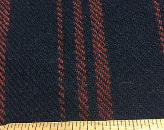 Black with Burgundy Stripe Wool - VINTAGE!
