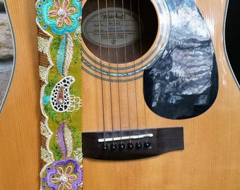 Boho Dream Flower Guitar Strap; Statement Guitar Strap; Unique Guitar Straps; Handmade Straps; Hippie Style Beaded Guitar Straps