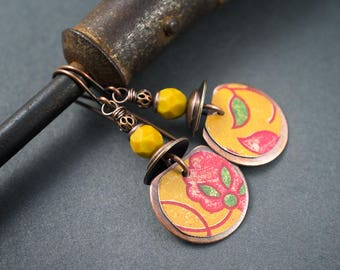 Floral Tin Earrings • Boho Tribal Earrings • Summer • Yellow Earrings • Pink Flowers Design • Circle Earrings • Ethnic Copper Disks Earrings