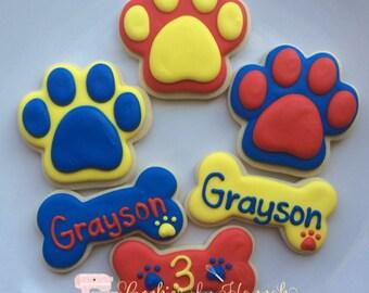 Paw Print and Dog Bone Cookies - One Dozen