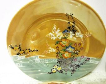 Sale Plates Asian Peach Luster  Mid Century Vintage