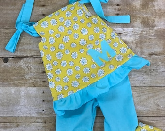 Personalized Handmade Monogrammed Spring Flowers Ruffle Pants and Top outfit
