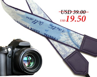 Dark purple DSLR / SLR Camera Strap. World Map Camera Strap. Camera accessories. Photographer gift. Map.