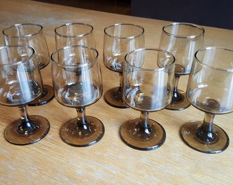 Set of 8 Mid-Century Smoke Glass White Wine Glasses