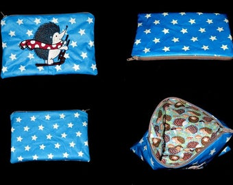 clutch bag original embroidered Hedgehog (customizable)