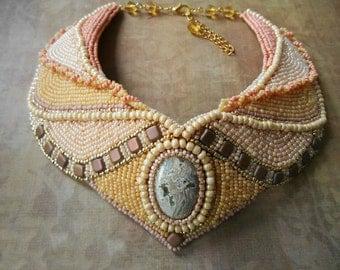 Nude bib necklace/ beige beaded jewelry/ short elegant necklace/ bead embroidered jewelry/ sand ivory gold natural brown tan/ ethnic OOAK
