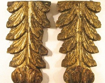 European Antique Hand Carved Wood Architectural Wall Hangings