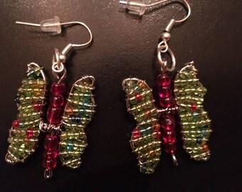 Hand-Beaded Butterfly Earrings - Lime
