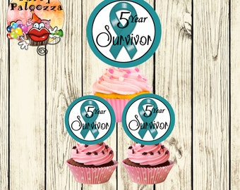 Printable Personalized  Ovarian Cancer Survivor Cupcake Toppers