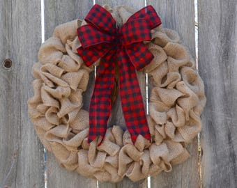 Burlap Wreath with Red Flannel Bow