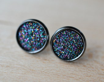 Galactic Druzy Earrings - Midnight Rainbow Druzy Earrings - Gunmetal Druzy Earrings - Gunmetal earrings - Druzy Stud Earrings