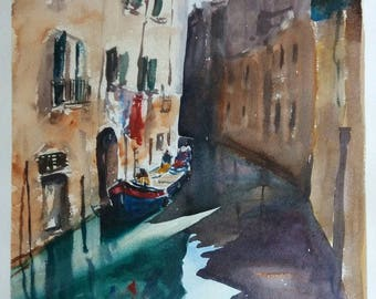 Loading boats in Venice -  Original Watercolour painting