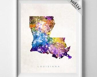 Louisiana Map Print, Baton Rouge Print, Louisiana Poster, Living Room Decor, State Art, Giclee Art, Map Print, Travel, 4th of July