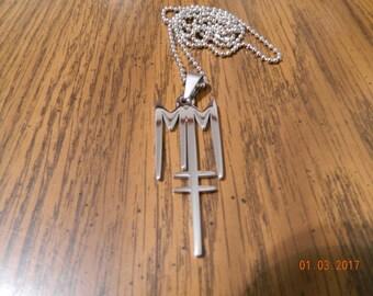 MIP-Marilyn Manson Born Villain symbol pendant w/30 inch steel ball chain