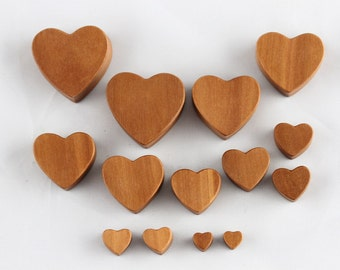 Wood heart plugs - carved wood heart plugs for stretched ears - heart shaped plugs gauge made from sawo wood - one pair - 6mm - 30mm - PA44