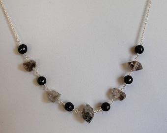 Herkimer Quartz & Black spinel sterling silver necklace