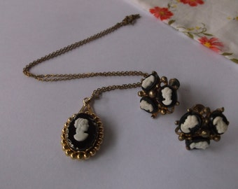 Vintage Cameo Necklace and Unique Triple Cameo Earrings, 1940s Cameo Set, Classic Cameos