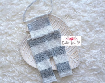 Aaron Romper, Newborn Romper, Stripe Romper, Grey Stripe Romper, White Stripe Romper, Baby Boy Props, UK Seller