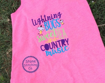 Lightning bugs, sweet tea, country music, country kid shirt, summer shirt, pink swim cover-up, pink fringe shirt, western dress